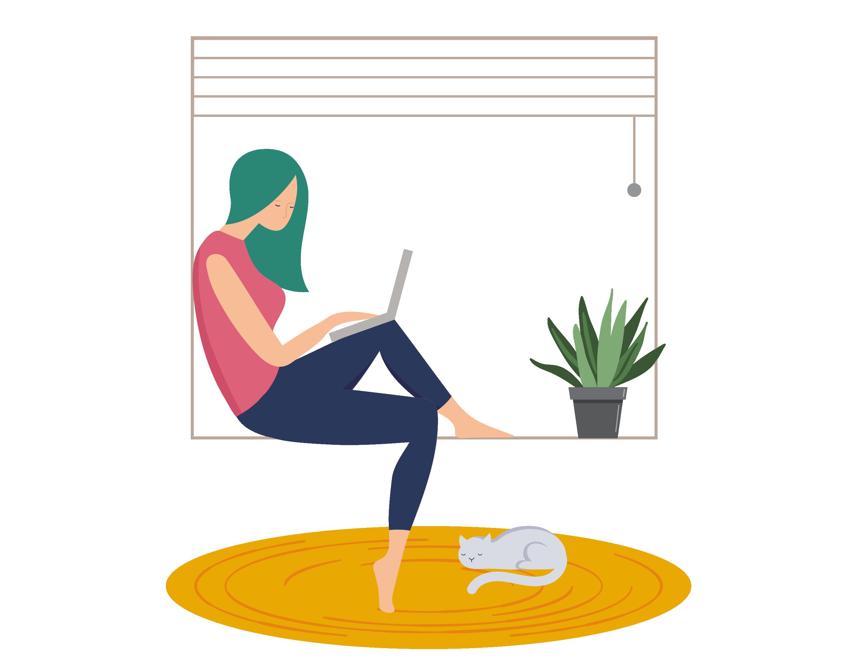 Work at home women window